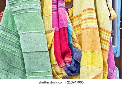 Selection of bright cloths as a background