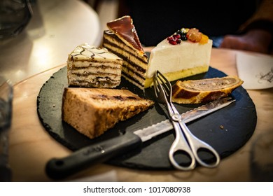 Selection of cake slices from Hungarian food tour.