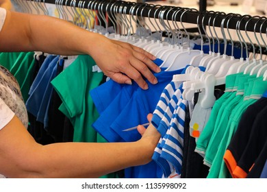 Selection of clothes in the store