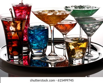 SELECTION OF COCKTAILS ON SILVER TRAY