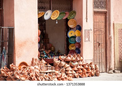 Selection of colorful Moroccan tajines. Traditional dish, meat and vegetable in ceramic tajine.