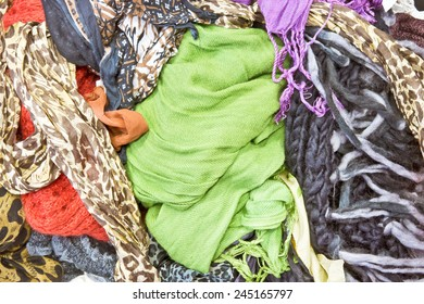Selection of colorful scarves as a background