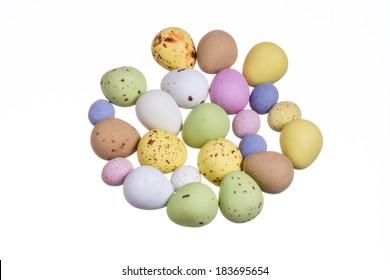 Selection of colourful mini eggs