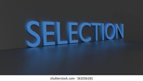Selection concept word - blue text on grey background.