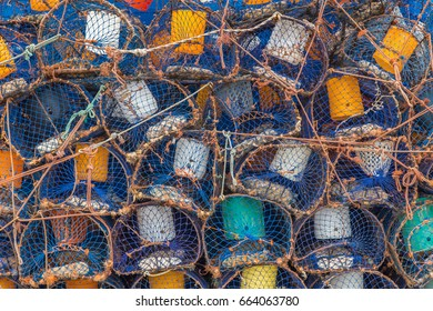 Selection of crab traps with blue net in Essaouira port, Morocco