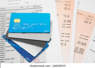 Selection of Credit Cards on top of Bank Statements