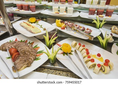 Selection display of a la carte cold meat salad food at a luxury restaurant buffet bar area