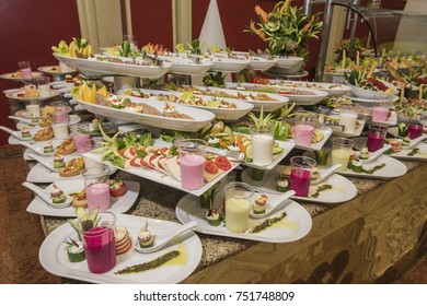 Selection display of a la carte salad food at a luxury restaurant buffet bar area