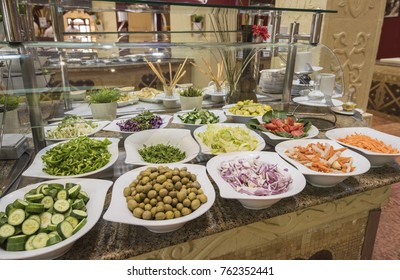 Selection display of salad food at a luxury restaurant buffet bar area