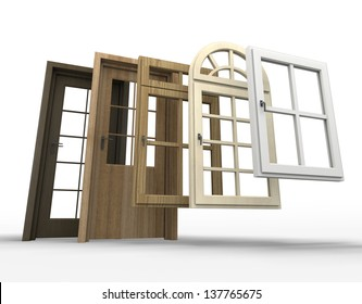 Elegant Selection Of Doors And Windows With A White Background