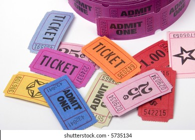 A selection of entrance tickets shot against a white background