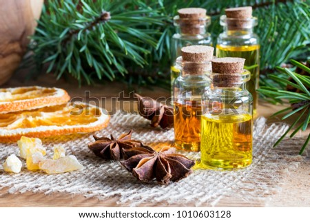 selection of essential oils with christmas spices and ingredients bottles of essential oil pine - Christmas Essential Oils