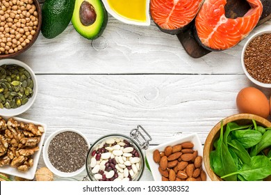 selection food sources of omega 3 and healthy fats. healthy diet eating concept. top view with copy space