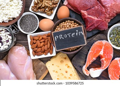 selection food sources of protein. healthy diet eating concept. top view