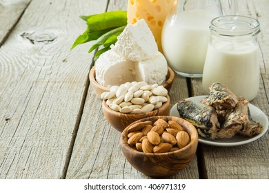Selection of food that is rich in calcium, copy space