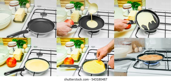 A selection of frames cooking pancakes