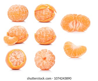 Selection of Fresh organic mandarins tangerines fruits with leaves and peeled halves on white background