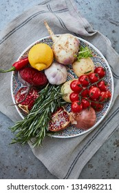 selection of fresh, raw cooking ingredients