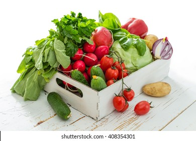 Selection of fresh vegetables from farmers market, copy space