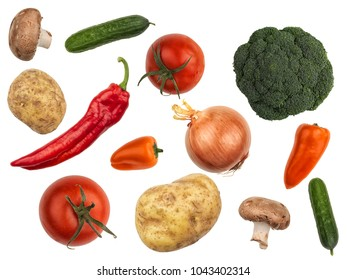 Selection of fresh vegetables, isolated on white background.