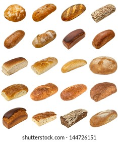 A selection of freshly baked bread isolated on a white background.