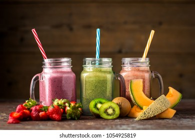 Selection of freshly made fruit smoothies
