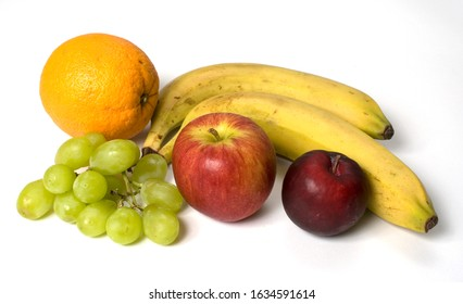 Selection of fruit on a white background