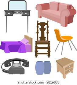 A selection of furniture. Raster version