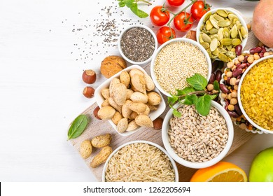 Selection of good carbohydrates sources - vegetables, fruits, grains, legumes, nuts and seeds. Healthy vegan diet