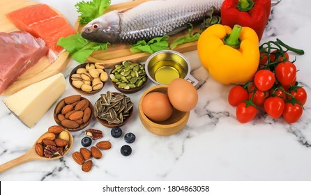 Selection of good fat saurces and Keto diet food ingredients which food low carb keto ketogenic diet meal plan