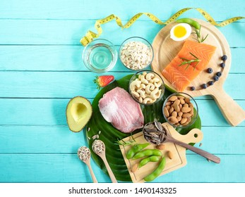 Selection of good ,Healthy eating of ketogenic diet meal plan which fitness and weight loss concept