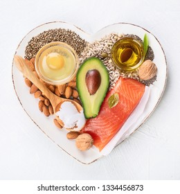 Selection of healthy fat sources. Healthy dieteating concept.Top view