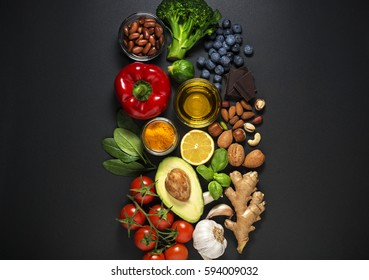 Selection of healthy food. Healthy diet foods for heart, cholesterol and diabetes.