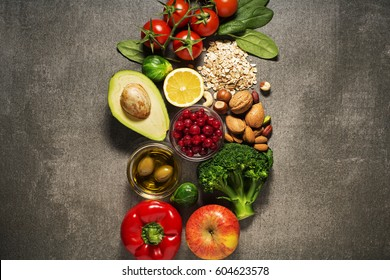 Selection of healthy food with vegetable and fruits. Healthy diet foods for heart, cholesterol and diabetes.