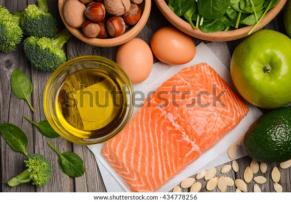 Selection of healthy products, balanced diet concept, top view