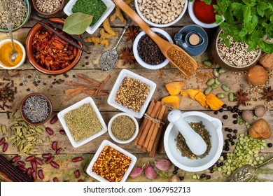 Selection of Herbs and Spices used in cooking to add flavor and seasoning.