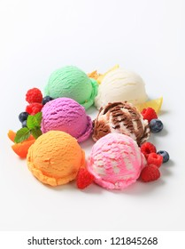 Selection of ice cream flavors