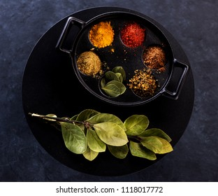 Selection Indian spices, seasonings and herbs
