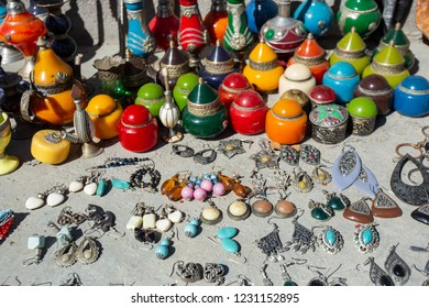 Selection of jewelry on a traditional Moroccan market in Marrakech, Morocco