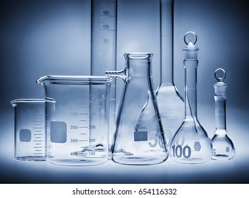 Selection of laboratory beakers and glassware.
