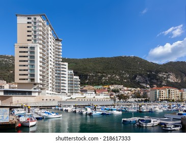 A selection of luxury yachts in the marina at Gibraltars Ocean Village