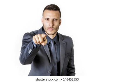 selection man with touch finger on a white background