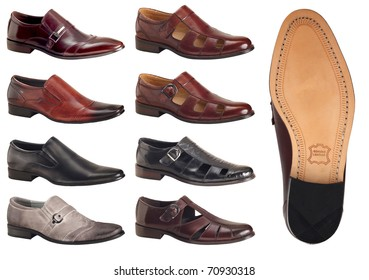 selection of men's shoes and sandals with sole showing