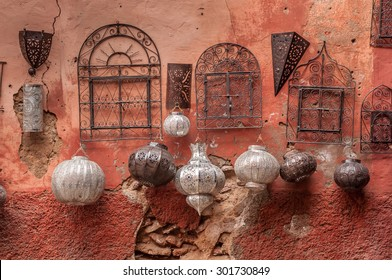 A selection of metalwork lamps and gates for sale in the souk, Marrakech, Morocco.