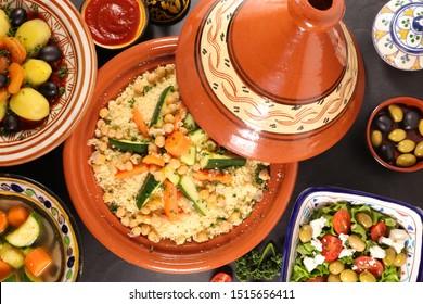 selection of moroccan meal, couscous- tajine-salad