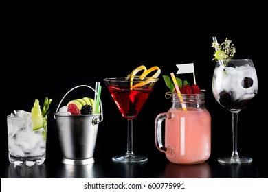 selection of nice garnish colour style cocktails various glass bartender skills