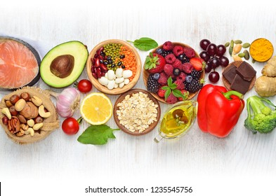 Selection of nutritive food - heart, cholesterol, diabetes. Flat lay, top view, copy space. - Shutterstock ID 1235545756