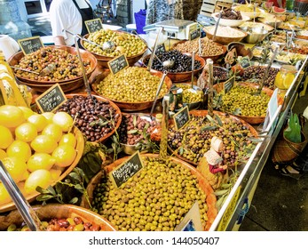 selection of olives in a market symbolic photo for food, fresh, healthy food