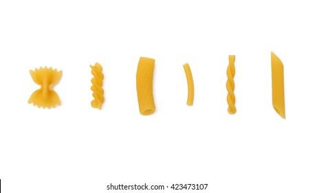 selection of pasta, isolated on white background, farfalle, fussili, rigatoni, maccheroni, gemelli, penne,