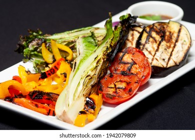 A Selection Of Plated Grilled Vegetables.